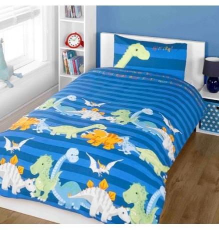 Laste voodipesukomplekt Dinosaurus 2-osaline sinine