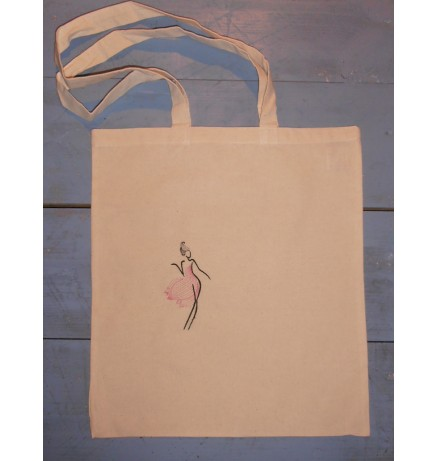 Embroidered Cotton Bag Woman 37x42cm